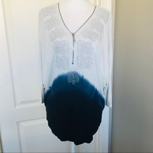 Nine West Ombré/Tie Dye Shirt Blue and White